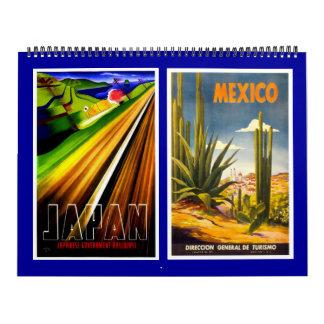 Posters das viagens vintage do calendário