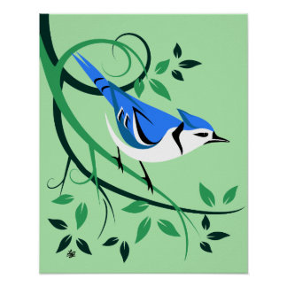Posters estilizados da arte de Jay azul