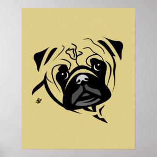 Posters estilizados da arte do Pug
