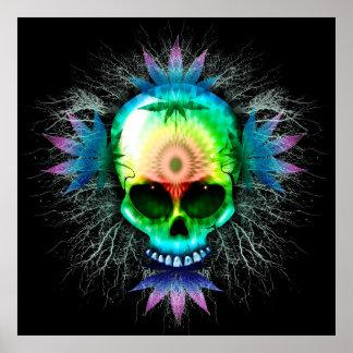 Posters psicadélicos do crânio