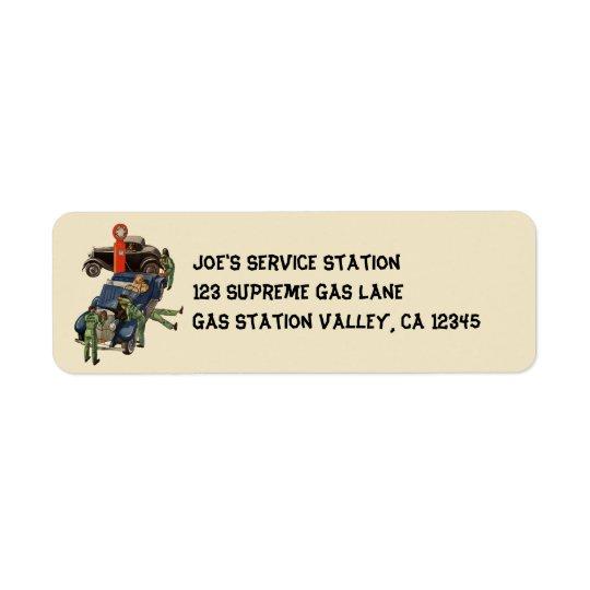 Posto de gasolina do serviço completo de Joe, Etiqueta Endereço De Retorno