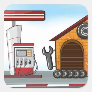 Posto de gasolina e garagem adesivo quadrado