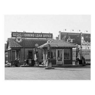 Posto de gasolina velho, 1920 cartoes postais