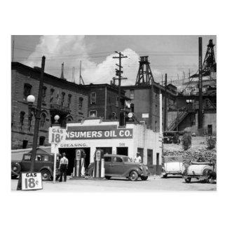 Posto de gasolina velho, os anos 30 cartoes postais