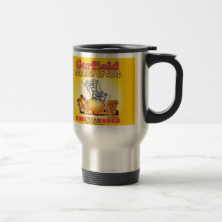 Potbelly de Garfield da caneca de viagem do ouro