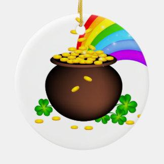Pote da moeda do Dia de São Patrício com arco-íris Ornamento De Cerâmica Redondo