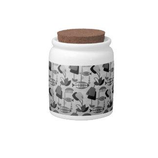 Pote de doces atômico preto e branco do teste jarro de doces