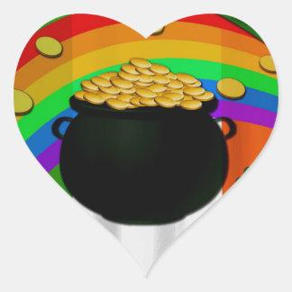 Pote de ouro adesivo coração