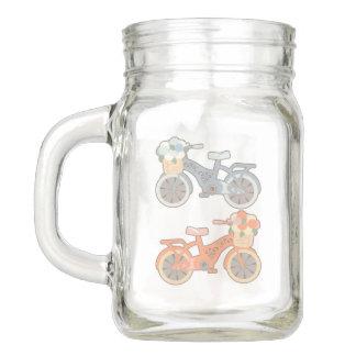 Pote De Vidro Mason Bicicleta retro e flores