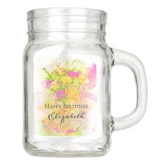 Pote De Vidro Mason Buquê da flor da aguarela do aniversário