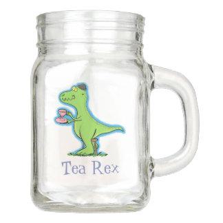 Pote De Vidro Mason Desenhos animados engraçados do dinossauro do rex