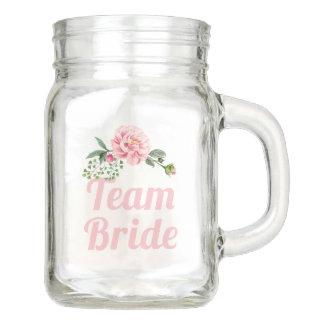 Pote De Vidro Mason Floral cor-de-rosa romântico da dama de honra da
