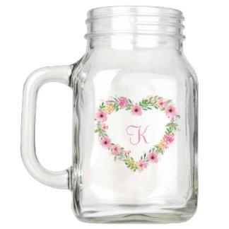 Pote De Vidro Mason Grinalda cor-de-rosa dada forma coração das flores