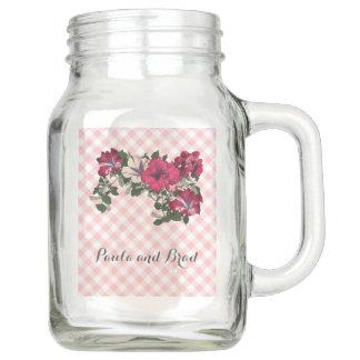 Pote De Vidro Mason Guingão cor-de-rosa e branco com petúnias Ruffled