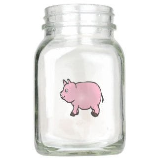 Pote De Vidro Mason Mini porco cor-de-rosa bonito