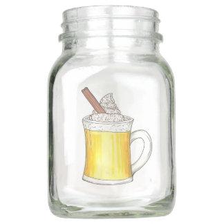 Pote De Vidro Mason O feriado de inverno quente bebe o café do rum do