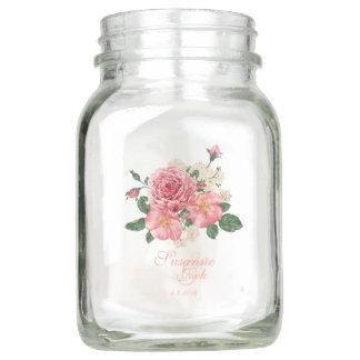 Pote De Vidro Mason Rosas cor-de-rosa da aguarela que Wedding