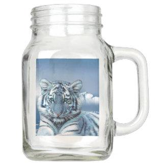 Pote De Vidro Mason Tigre branco azul