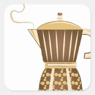 Pote do café adesivo quadrado