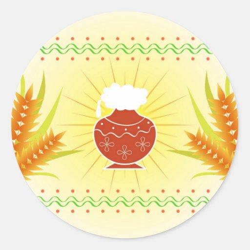 Pote e trigo de Pongal Adesivo Em Formato Redondo