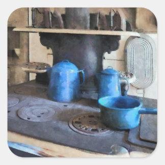 Potes azuis no fogão adesivo quadrado