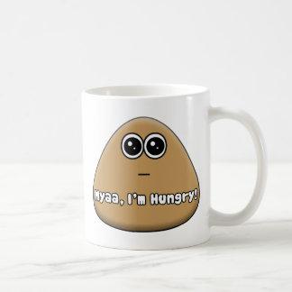 Pou com fome com texto caneca de café