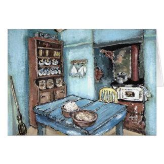 Pouca cozinha azul do país cartão comemorativo