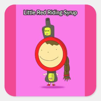 Poucas etiquetas vermelhas do xarope da equitação