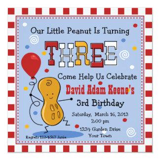 Pouco aniversário de 3 anos do amendoim convites