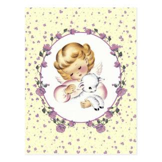 Pouco anjo da páscoa com cordeiro. Cartão da pásco Cartao Postal