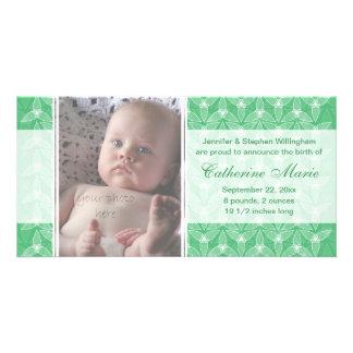 Pouco anúncio do nascimento da folha - hortelã cartão com foto