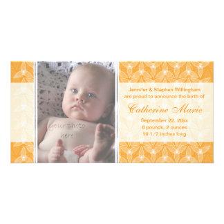 Pouco anúncio do nascimento da folha - melão cartão com foto