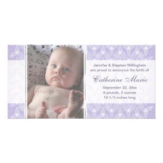 Pouco anúncio do nascimento da folha - pervinca cartão com foto