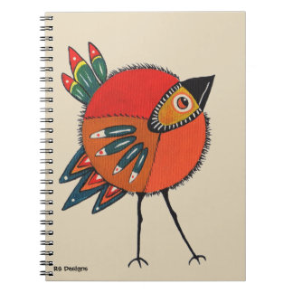Pouco caderno alaranjado do passarinho