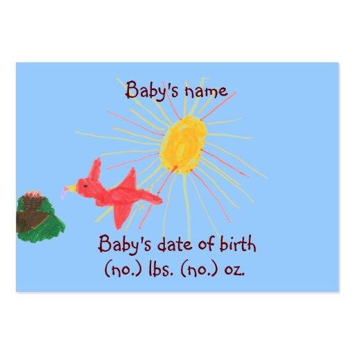 Pouco cartão com fotos do anúncio do nascimento do cartão de visita