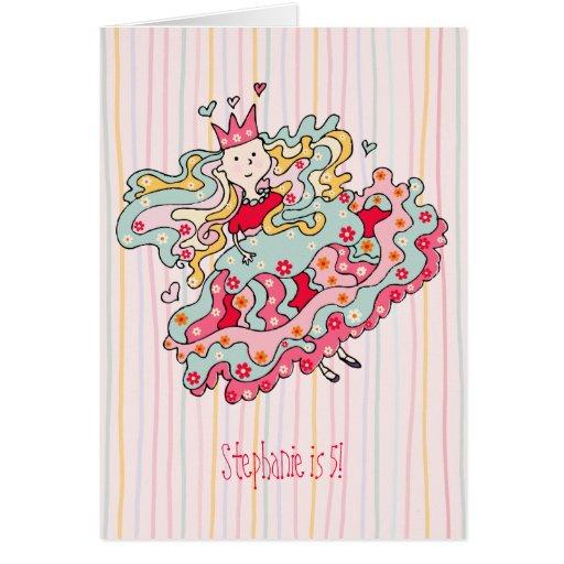 Pouco cartão cor-de-rosa da princesa aniversário d