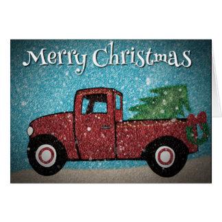 Pouco cartão de Natal vermelho do caminhão