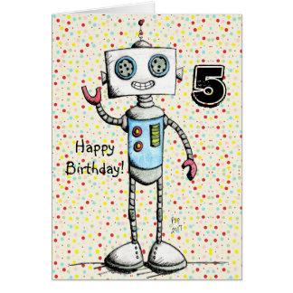Pouco cartão do feliz aniversario do robô