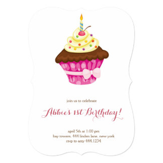 Pouco convite do aniversário do cupcake primeiro