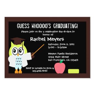 Pouco coruja graduada convida convite 12.7 x 17.78cm