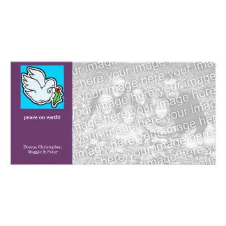 Pouco feriado da pomba da paz cartão com fotos personalizado