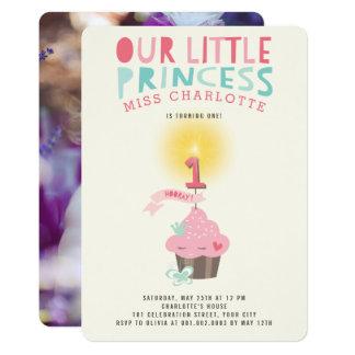 Pouco primeiro aniversario da princesa Menina do Convite 12.7 X 17.78cm