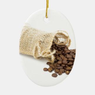 Pouco sackcloth com feijões de café ornamento de cerâmica