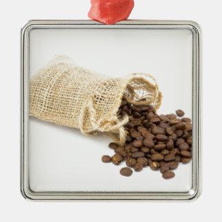Pouco sackcloth com feijões de café ornamento de metal