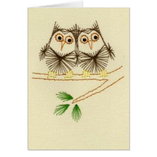 Poucos cartões do bordado das corujas de Screech