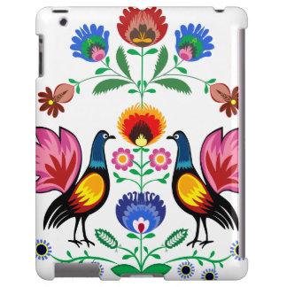 Povos poloneses com floral decorativo & os galos n capa para iPad
