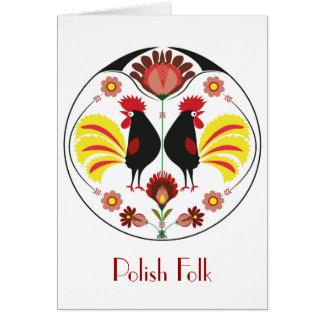 Povos poloneses com galo decorativo, cartão