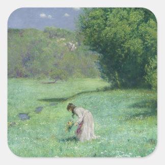 Prado da floresta, 1876 adesivo em forma quadrada