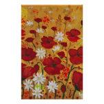 Prado da papoila, flores vermelhas