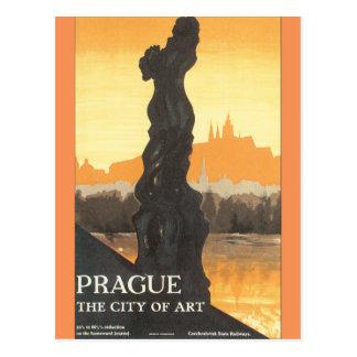 Praga a cidade do poster das viagens vintage da cartão postal